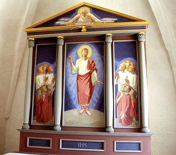 1954 Ingolf Røjbæk Kristus åbenbaret for apostlene Trefløjet alterbillede Hammelev v Randers