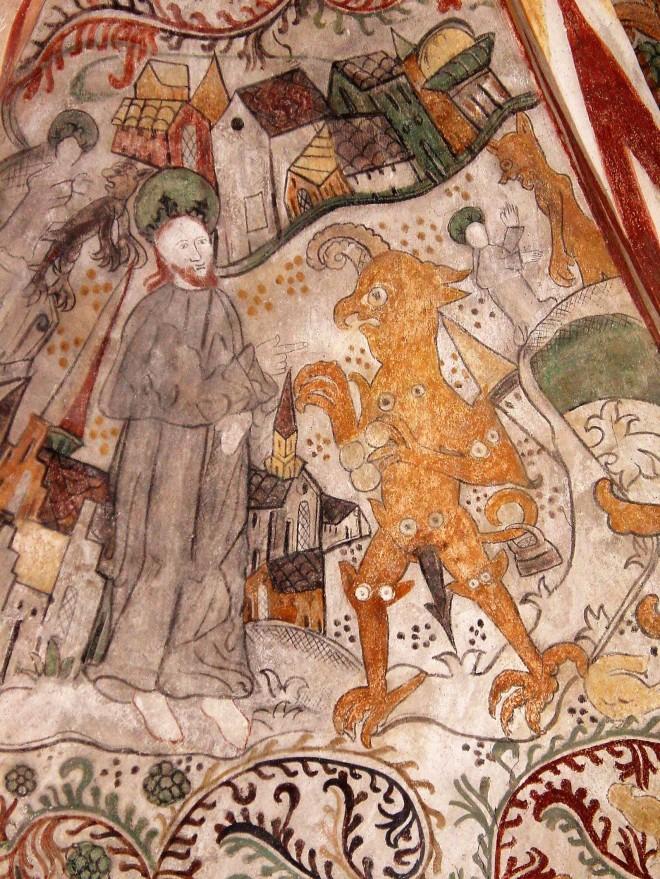 1550-1560 Gudum kirke kalkmaleri Fristelsen DSC01118 Claus.jpg