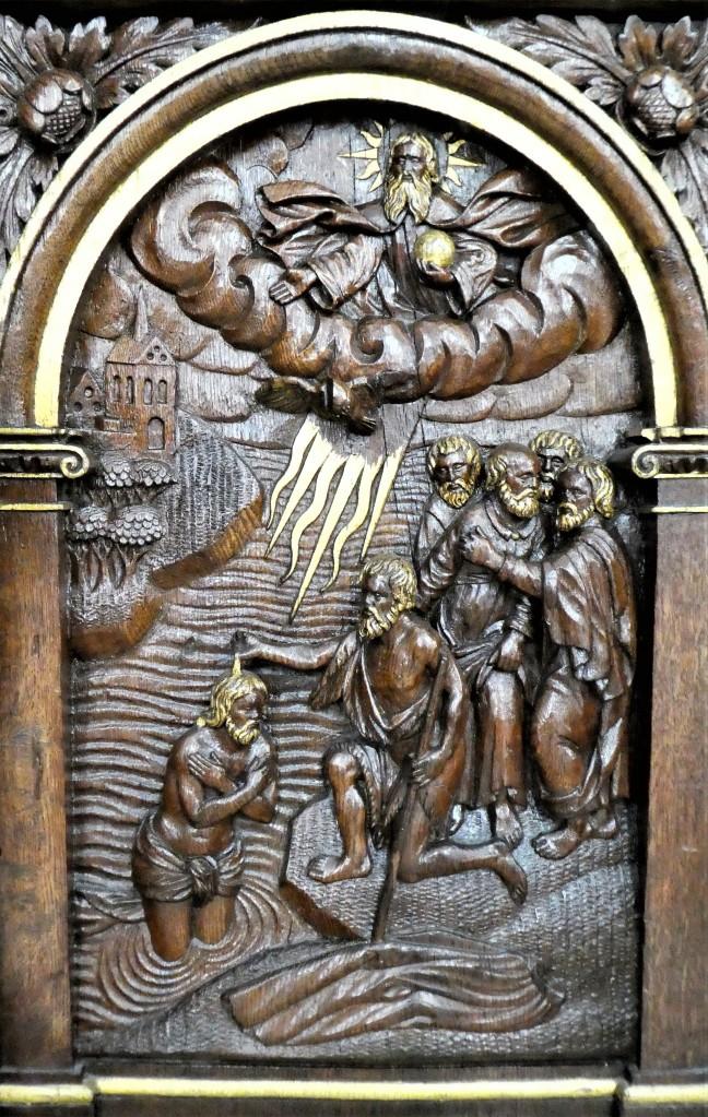 1695 Lauritz Jensen, Essenbæk, relief blandt mange dåbsrelaterede motiver i fontelukket i Sct. Mortens, Randers Claus P1120023