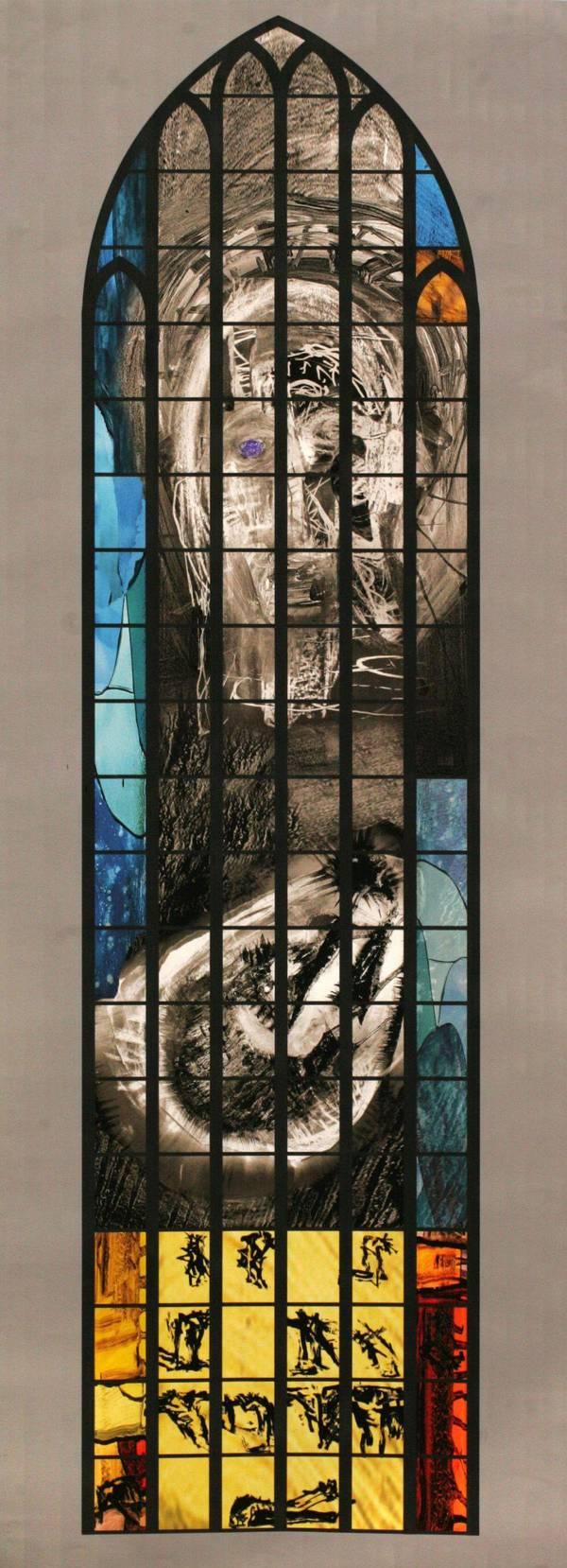 2006 Peter Brandes Opstandne og lidende Kristus Kasseret mosaikrudeforslag til Odense Dom 135056_600_0_0_0_0_0