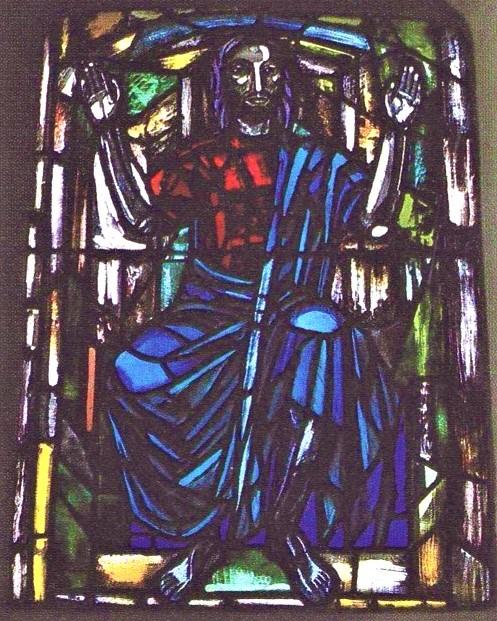 1954 Paul Høm, nærbillede glasmosaik i Faster Kirke Billede1