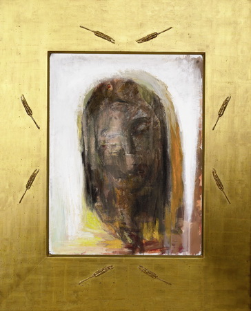 2005 Maja Lisa Engelhardt Den opstandne i Guldramme med kornaks kristus_maleri vestvæg Skannerup