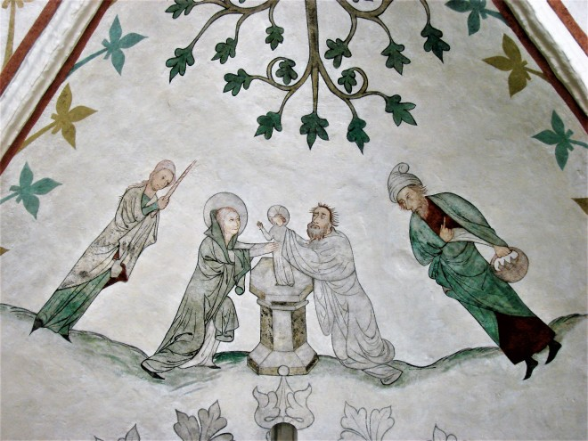 1400ca Kalkmaleri med kyndelmissemotiv i Højby Kirke Odsherred DSC05125 Claus