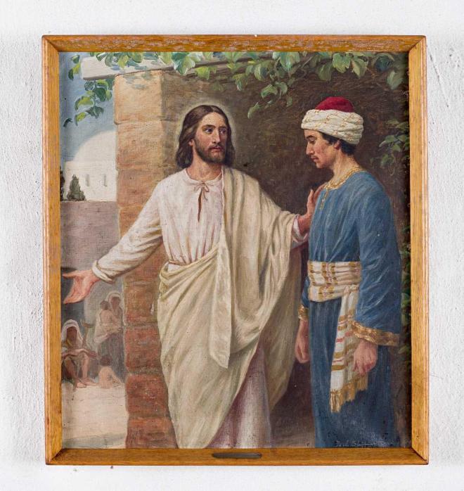 1912 Poul Steffensen, Jesus og den rige yngling, Åsum Kirke Odense (opr. tiltænkt Ferring Kirke som alterbillede, Nat Mus Saml. 1280