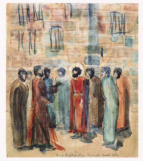1915 Niels Larsen Stevns Du er Kristus, den levende Guds Søn, Randers kunstmuseum, skitse til Vammen Kirkes altertavle Picture1